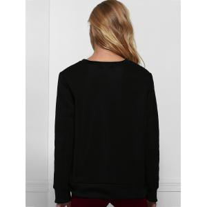 Casual Letter Printed Pullover Sweatshirt For Women - BLACK XL
