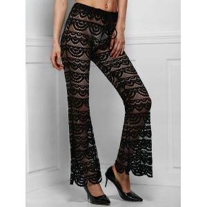 Sexy Lace See-Through Solid Color Pants For Women - Black - L