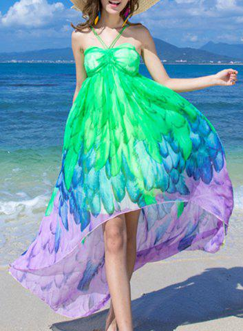 Discount Casual Halter Ombre Printed Dress For Women