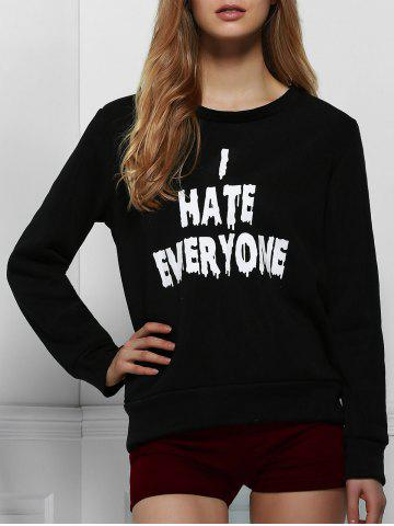 Trendy Casual Letter Printed Pullover Sweatshirt For Women BLACK XL