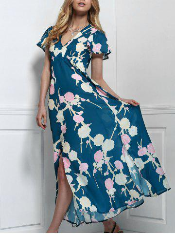 Outfit Maxi Floral Cut Out Swing Dress with Slit GREEN S