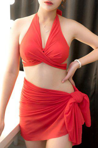 Discount Sexy Halter Solid Color Push Up Three-Piece Swimwear For Women