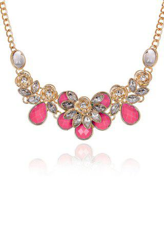 Rose Decorated Faux Gemstone Necklace - Deep Pink