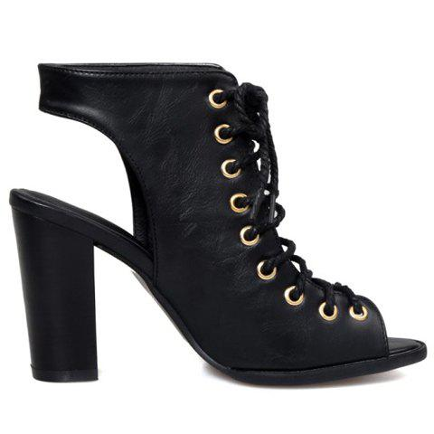 Outfit Slingback Lace Up Bootie Sandals - 34 BLACK Mobile