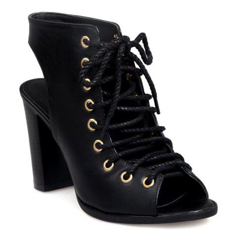 Affordable Slingback Lace Up Bootie Sandals - 34 BLACK Mobile