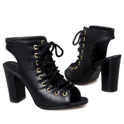 Outfit Slingback Lace Up Bootie Sandals - 36 BLACK Mobile