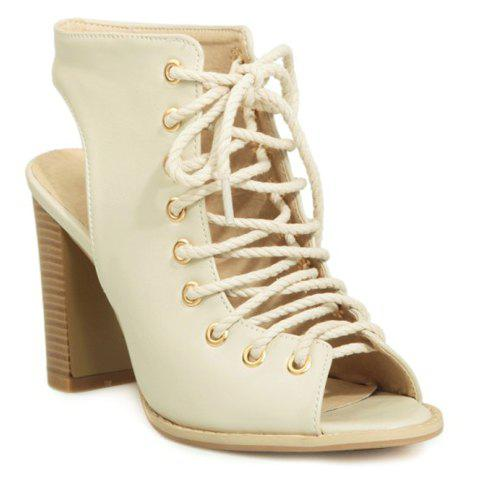 Fashion Slingback Lace Up Bootie Sandals - 38 OFF-WHITE Mobile
