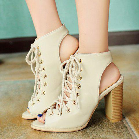 Sale Slingback Lace Up Bootie Sandals - 38 OFF-WHITE Mobile