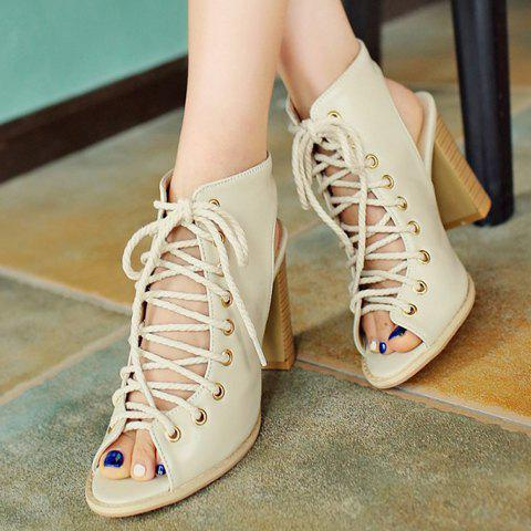 Online Slingback Lace Up Bootie Sandals - 39 OFF-WHITE Mobile