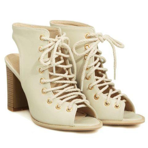 Buy Slingback Lace Up Bootie Sandals - 39 OFF-WHITE Mobile