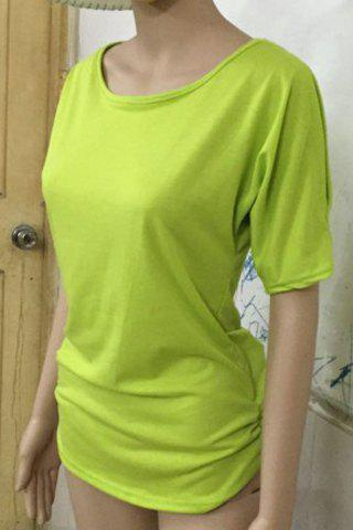 Fashion Stylish Scoop Neck Short Sleeve Solid Color Hollow Out T-Shirt For Women