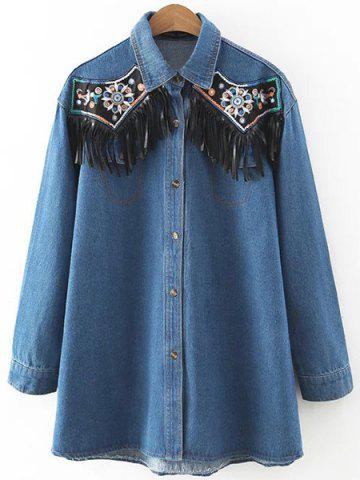 Trendy Stylish Turn-Down Collar Long Sleeve Fringed Denim Shirt For Women