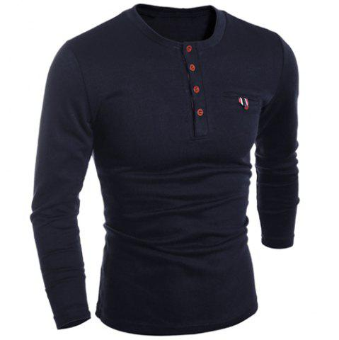 Trendy Round Neck Edging Design Long Sleeve Buttons Embellished T-Shirt For Men BLACK XL