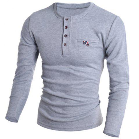 Latest Round Neck Edging Design Long Sleeve Buttons Embellished T-Shirt For Men - L GRAY Mobile