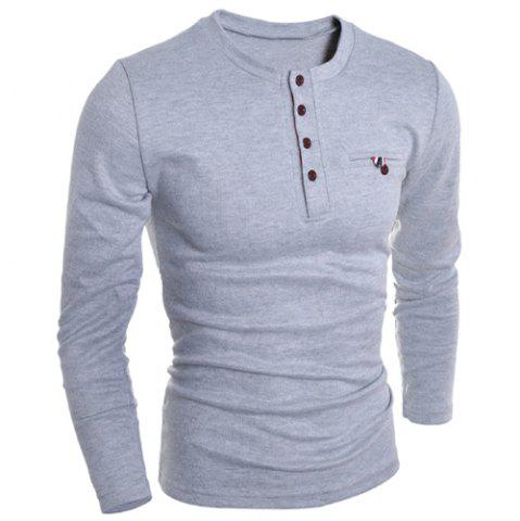 Latest Round Neck Edging Design Long Sleeve Buttons Embellished T-Shirt For Men - XL GRAY Mobile