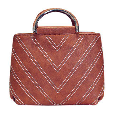 Store Stylish Stitching and PU Leather Design Tote Bag For Women