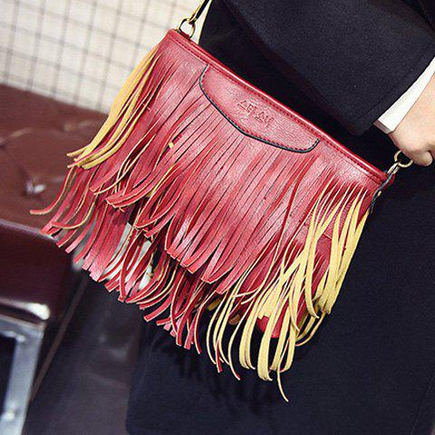 Cheap Stylish Metal and Fringe Design Crossbody Bag For Women - RED  Mobile