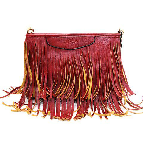 Unique Stylish Metal and Fringe Design Crossbody Bag For Women RED