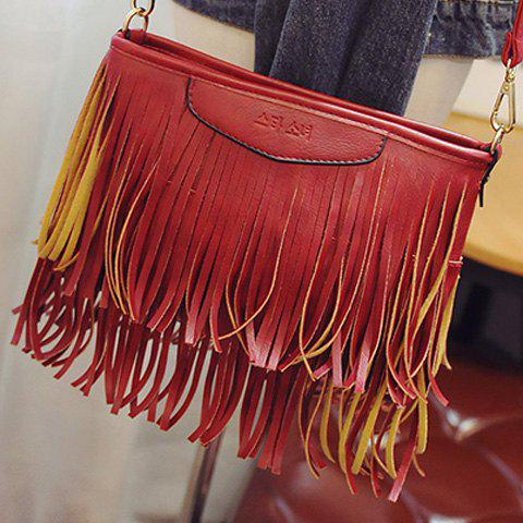 Outfit Stylish Metal and Fringe Design Crossbody Bag For Women - RED  Mobile