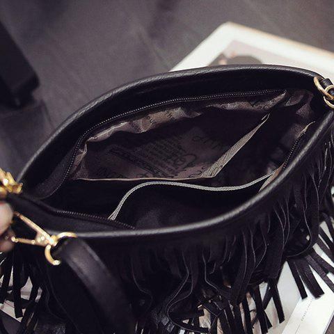 Outfits Stylish Metal and Fringe Design Crossbody Bag For Women - BLACK  Mobile
