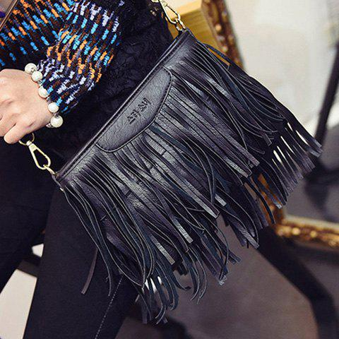 Outfit Stylish Metal and Fringe Design Crossbody Bag For Women - BLACK  Mobile