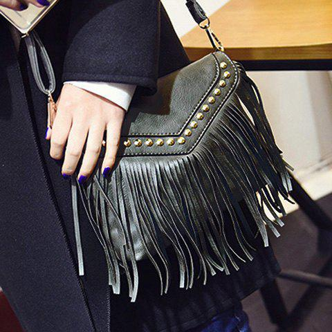 Fashion Trendy Fringe and Rivets Design Shoulder Bag For Women - GRAY  Mobile