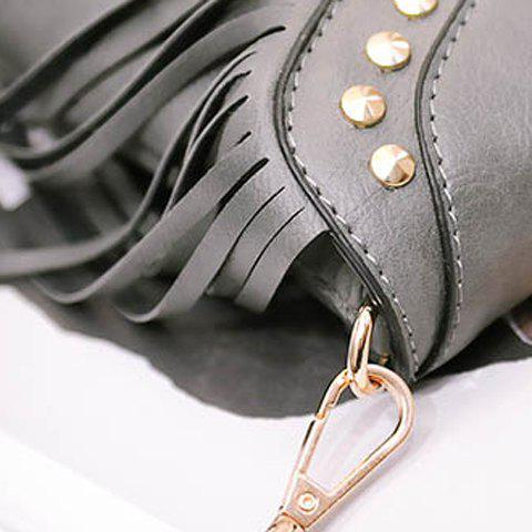 Online Trendy Fringe and Rivets Design Shoulder Bag For Women - GRAY  Mobile