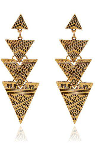 Cheap Retro Carving Stitching Triangle Drop Earrings GOLDEN