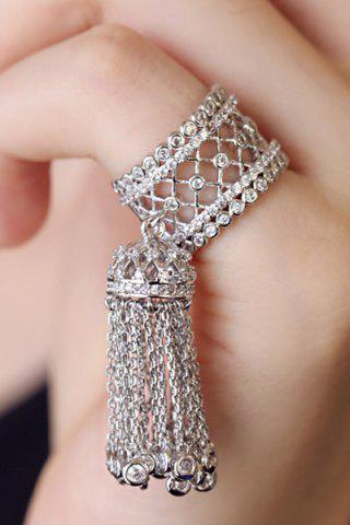 Outfits Chic Rhinestoned Hollow Out Tassel Ring For Women