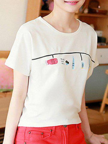 Chic Brief Scoop Neck Fish Pattern Short Sleeve T-Shirt For Women