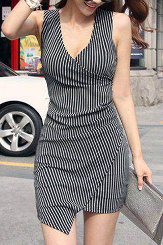 Outfit Sexy V-Neck Stripe Sleeveless Dress For Women