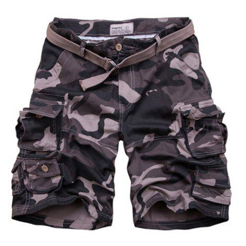New Zip Fly Flap Pockets Camouflage Cargo Shorts With Belt - XL CAMOUFLAGE Mobile