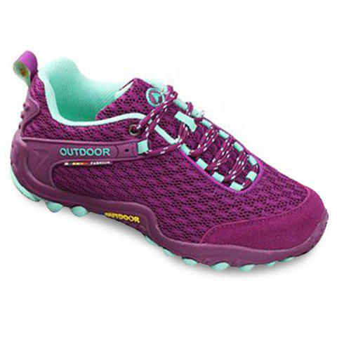 Store Casual Splicing and Lace-Up Design Sneakers For Women - 35 PURPLE Mobile