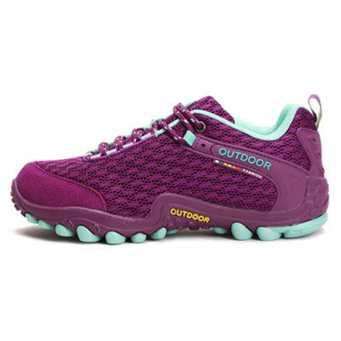 Buy Casual Splicing and Lace-Up Design Sneakers For Women - 35 PURPLE Mobile