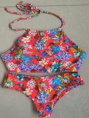 Sale Chic Halter Braid Floral Printed Bikini Set For Women