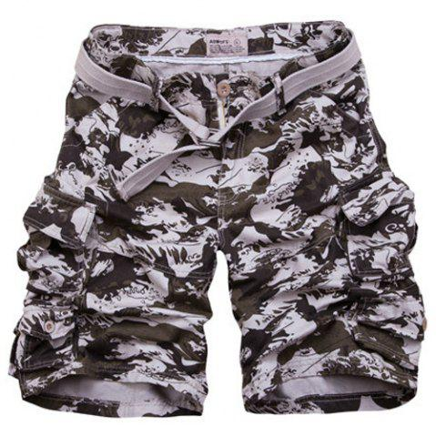New Loose Fit Zipper Fly Camo Fifth Cargo Shorts With Belt For Men - M CAMOUFLAGE Mobile