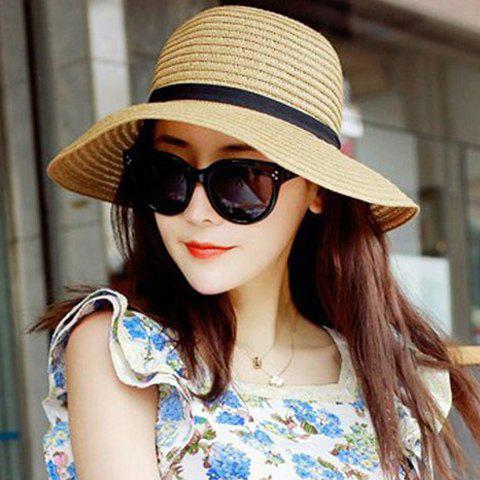 Shops Fashionable Bowknot Embellished Solid Color Straw Hat For Women