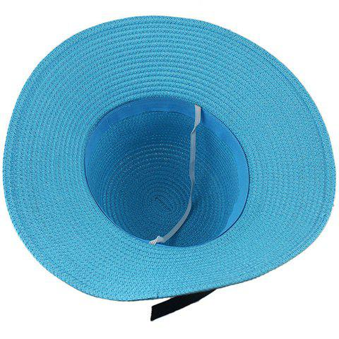 Buy Fashionable Bowknot Embellished Solid Color Straw Hat For Women - LAKE BLUE  Mobile