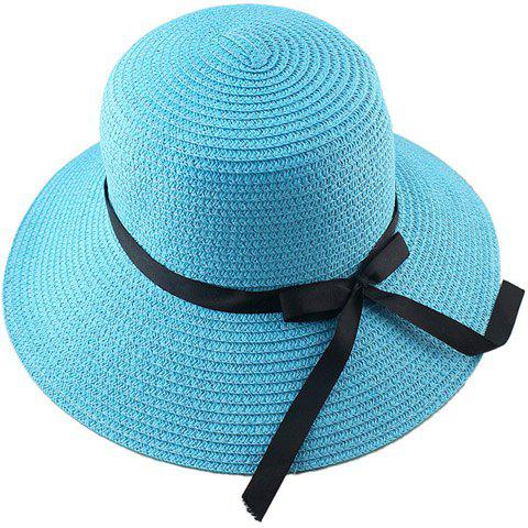 Store Fashionable Bowknot Embellished Solid Color Straw Hat For Women - LAKE BLUE  Mobile