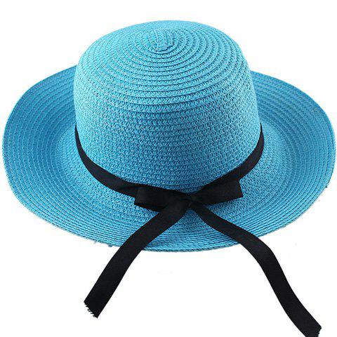 Fancy Fashionable Bowknot Embellished Solid Color Straw Hat For Women