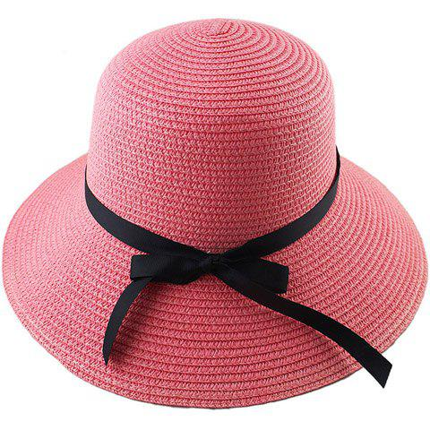 Buy Fashionable Bowknot Embellished Solid Color Straw Hat For Women - PINK  Mobile