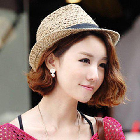 Fashion Hollow Out Crochet Straw Hat - COFFEE  Mobile