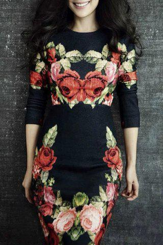 Affordable Elegant Round Neck Long Sleeves Floral Print Women's Dress