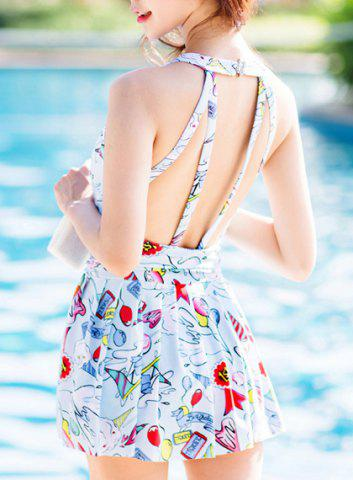 Online Cute High Neck Print Ruffled Swimsuit