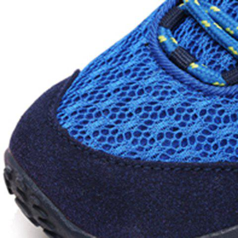 Hot Casual Splicing and Lace-Up Design Sneakers For Men - 39 SAPPHIRE BLUE Mobile