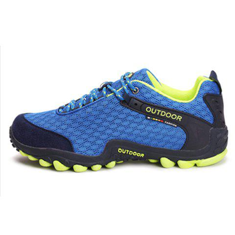 Discount Casual Splicing and Lace-Up Design Sneakers For Men - 43 SAPPHIRE BLUE Mobile