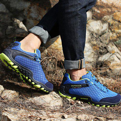 Online Casual Splicing and Lace-Up Design Sneakers For Men - 43 SAPPHIRE BLUE Mobile