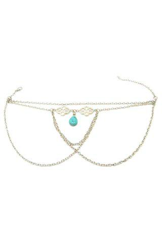 Hot Trendy Ethnic Turquoise Water Drop Arm Chain Jewelry For Women - SILVER  Mobile