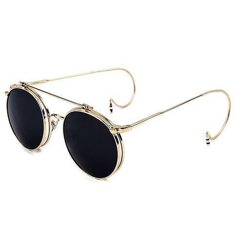 Outfit Chic Golden Round Frame and Clamshell Design Sunglasses For Women