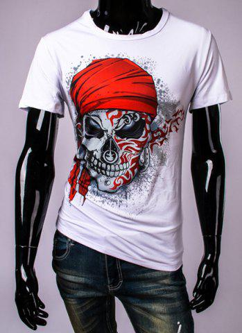 Chic 3D Pirate Skull Printed Round Neck Short Sleeve T-Shirt For Men WHITE 2XL